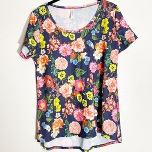 LuLaRoe Navy Floral High-Low Classic T T-Shirt